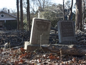 Tombstones in cemetery